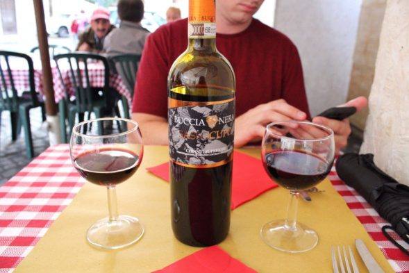 Chianti wine at a restaurant in Rome Italy