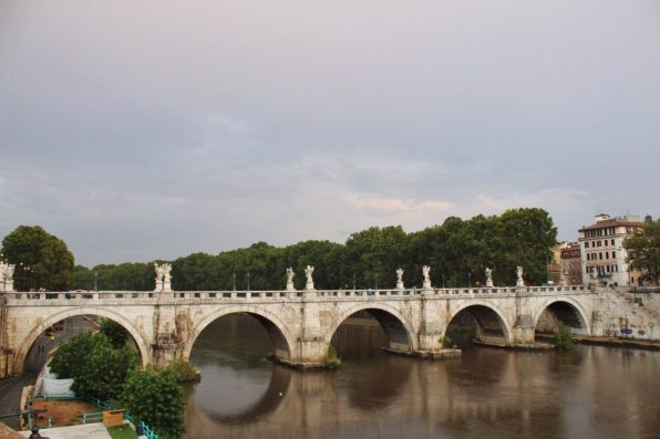 Bridge over the Arno river in Rome Italy
