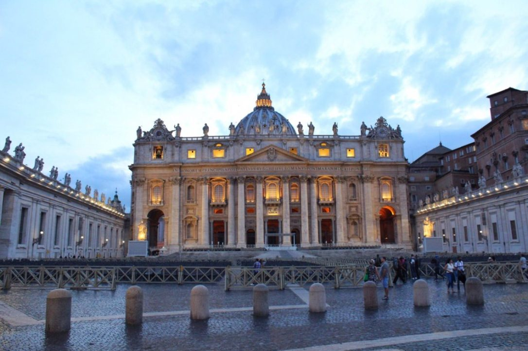 St. Peter's Basilica in Rome Italy at night