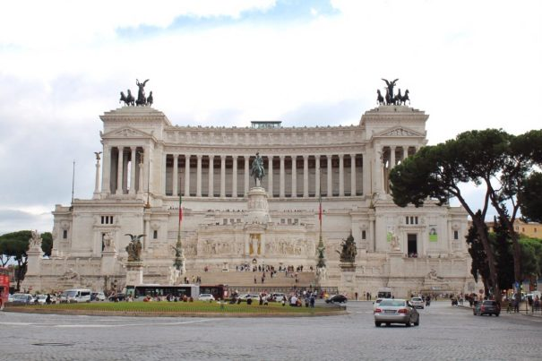 Outside of the Altare della Patria in Rome Italy
