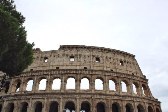 Outside of the Colosseum in Rome Italy
