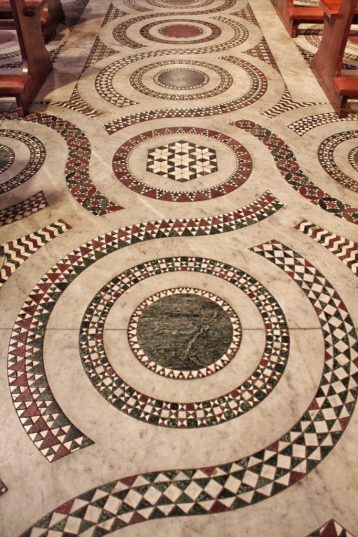 Floors inside a church in Trastevere in Rome Italy