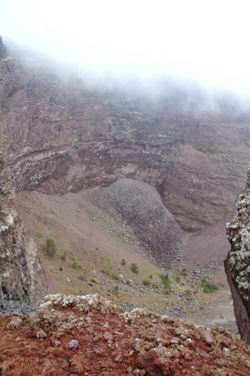 View inside the crater of Mount Vesuvius