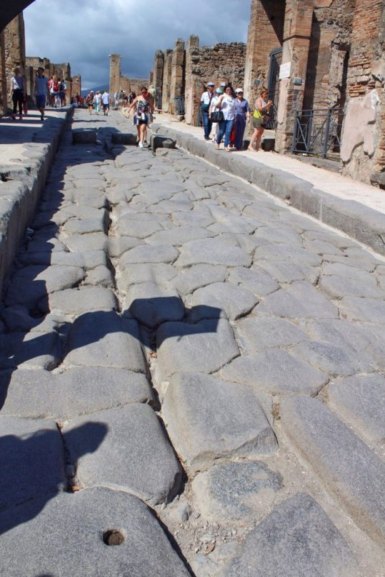 A road inside the ruined city of Pompeii Italy