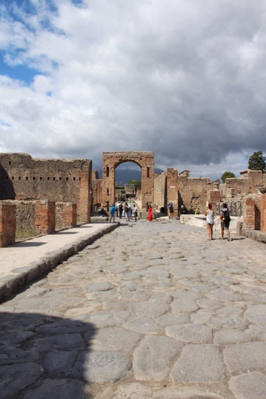 Street Inside the ruined city of Pompeii Italy