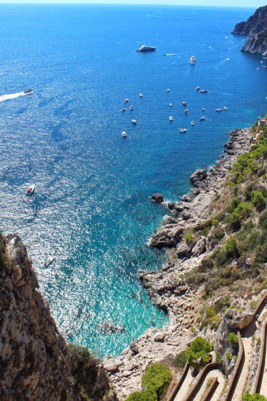 View of the via Krupp in Capri, Italy