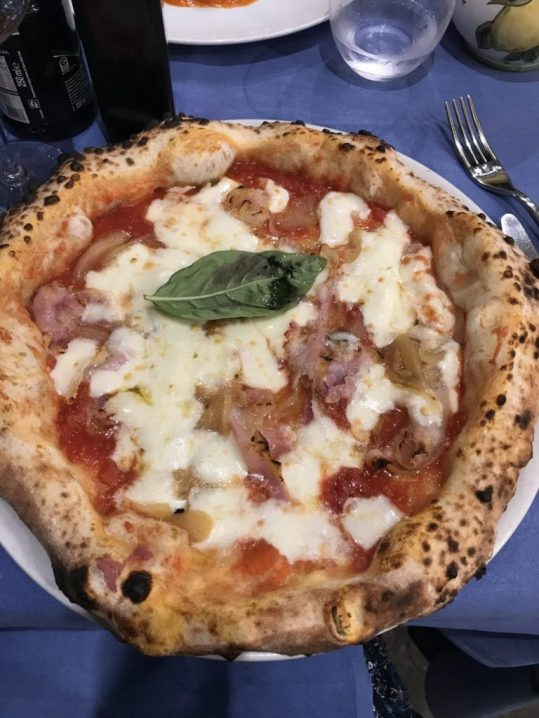 Pizza at a restaurant in Sorrento, Italy
