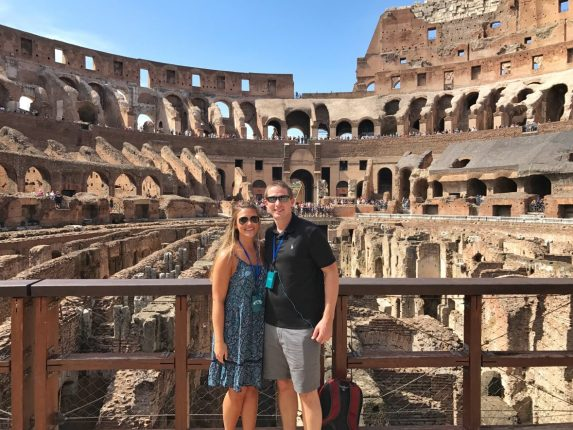 Lauryn and Eric Inside the Colosseum in Rome Italy