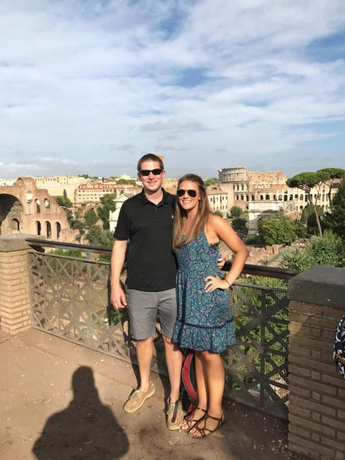 View from the top of Palatine Hill in Rome Italy