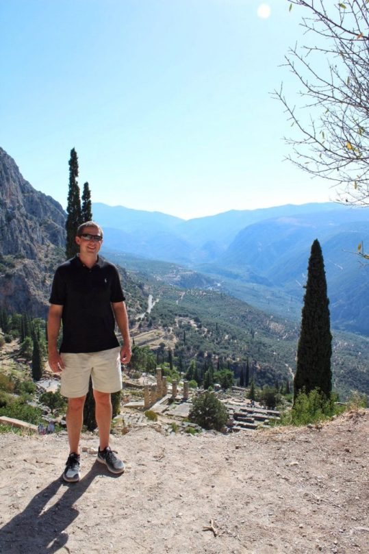 Eric with the view of Delphi Greece