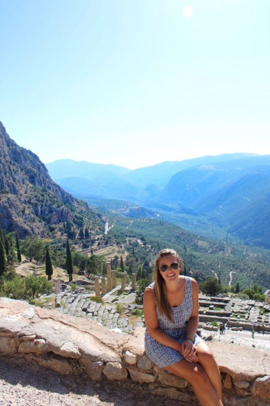 Lauryn and the ruins of Delphi, Greece