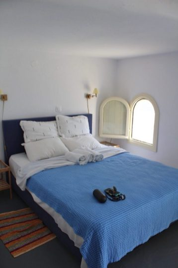 Our bed in the Airbnb in Santorini