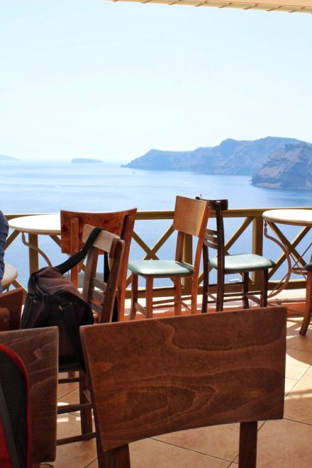 View from a restaurant in Oia, Santorini