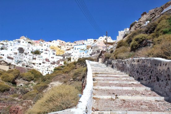 View from the path going down to Amoudi Bay