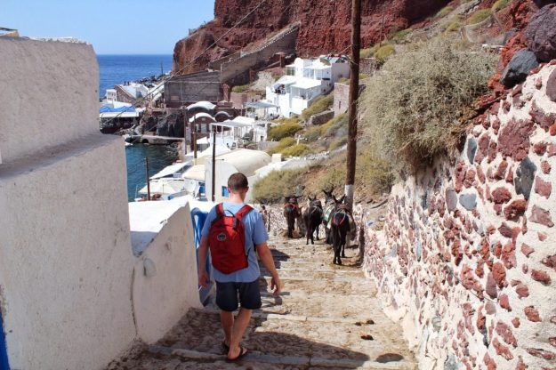 The end of the path going down to Amoudi Bay