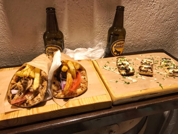 Food at Pito Gyros restaurant in Oia Santorini