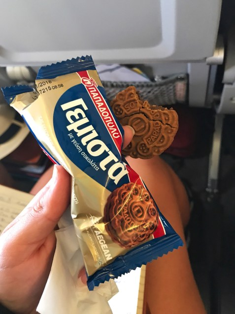 Cookies on the Aegean Air flight to Santorini from Athens
