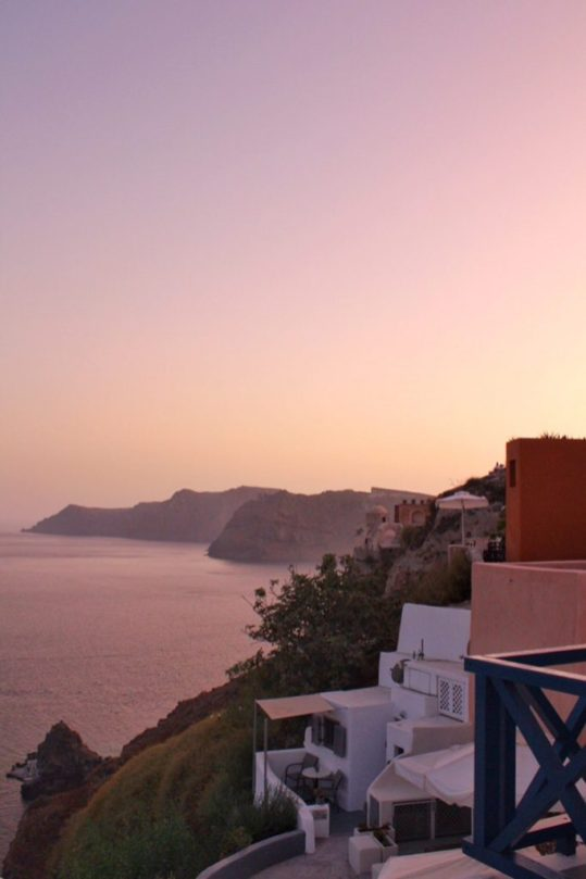 View from AirBnb at sunrise in Oia, Santorini