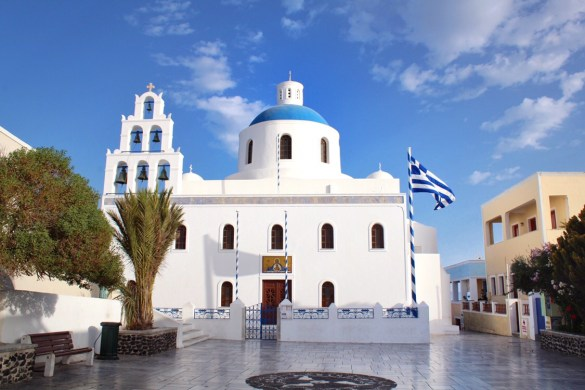 Blue domed church in Oia, Santorini, Greece