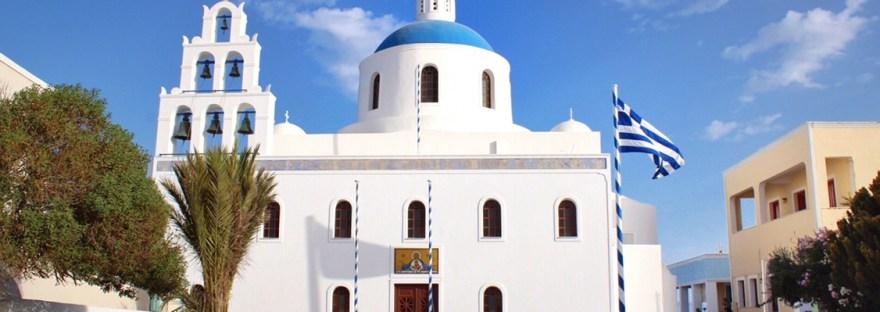 Blue domed church in Oia, Santorini, Greece
