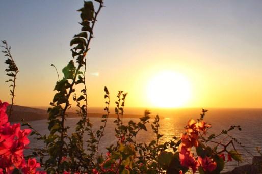 Sunset over the caldera in Oia, Santorini