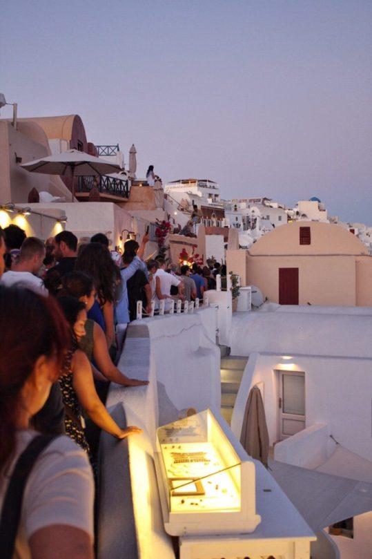 Sunset Crowds in Oia Santorini
