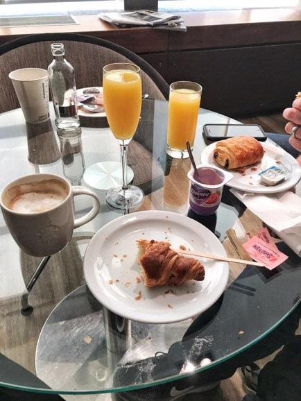 Our breakfast at the airport lounge in Brussels, Belgium