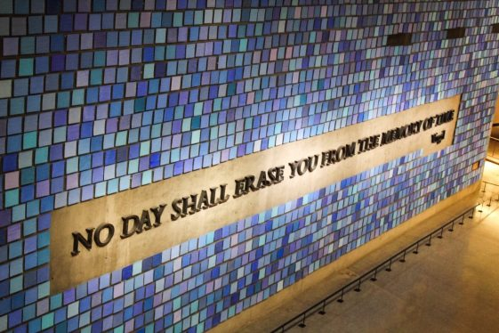 September 11 memorial museum dedication wall in New York City