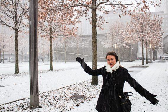 Snow outside the September 11 memorial museum in New York City
