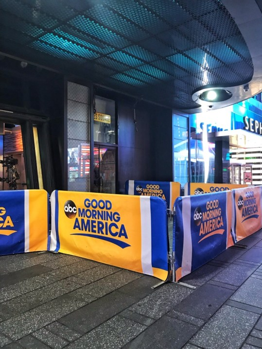 Standing outside of the Good Morning America studio