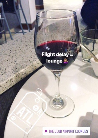 Glass of wine at the lounge in the Atlanta airport