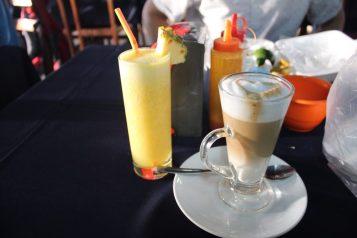 Eric got pineapple juice, I got a latte