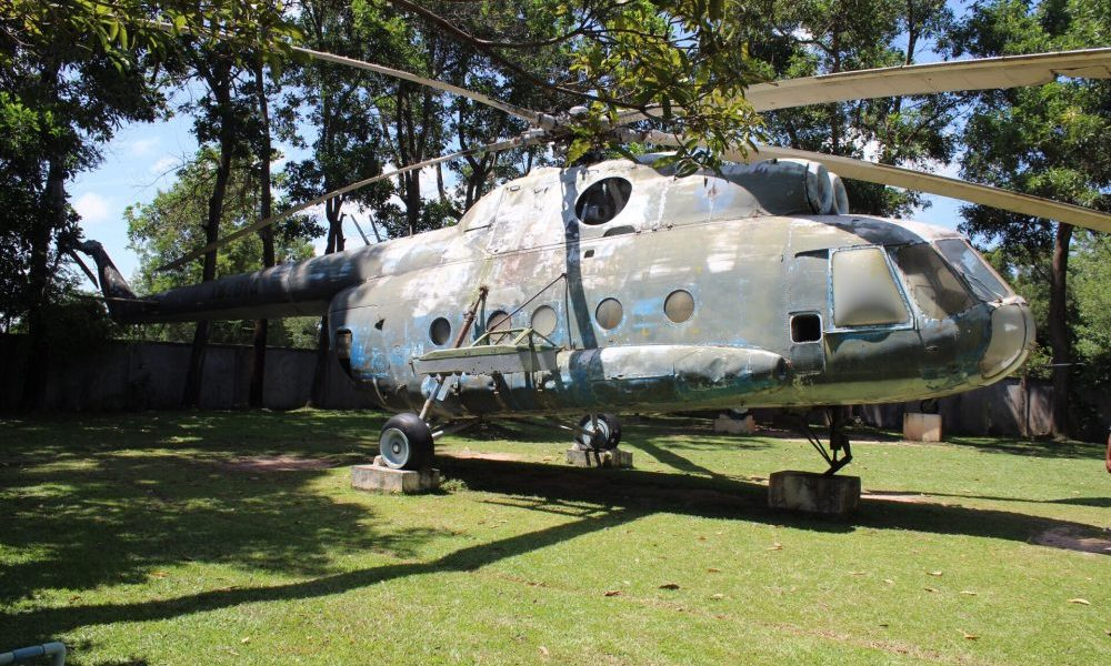 Helicopter at the Cambodian War Museum in Siem Reap Cambodia