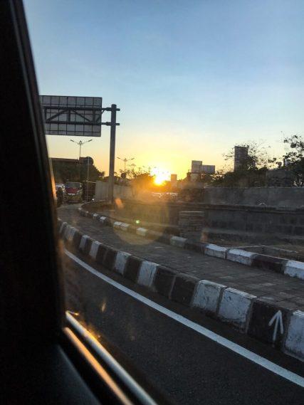 Sunset while driving to Ubud, Bali Indonesia