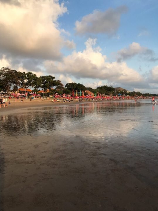 Crowded beach in Seminyak Bali