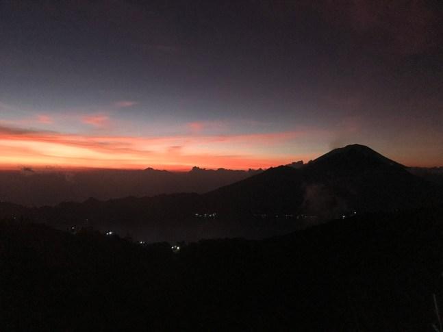 Start of the sunrise on Mount Batur