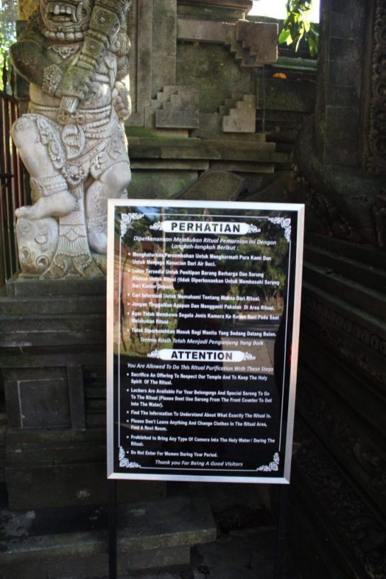 Rules outside of Entrance to the Holy Springs Tirta Empul Ubud Bali