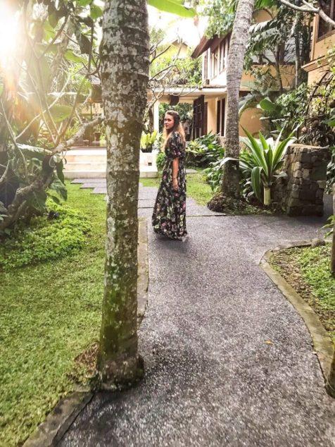 Walking out of the Komaneka Monkey Forest Ubud Bali
