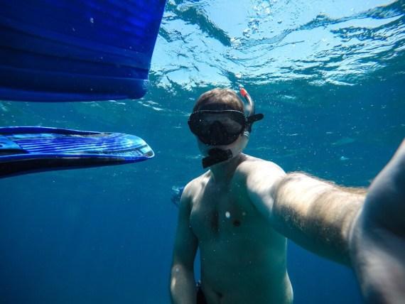 Eric snorkeling at Nusa Penida in Bali