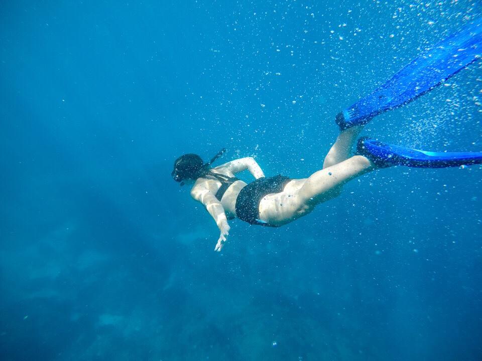 Lauryn snorkeling at Nusa Penida in Bali
