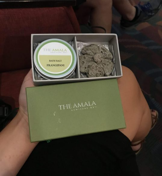 Gift from the staff at The Amala, Seminyak, Bali