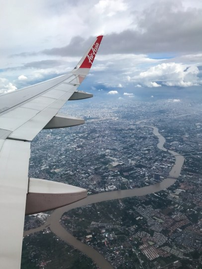 The city of Bangkok from the plane traveling from Bali to Bangkok