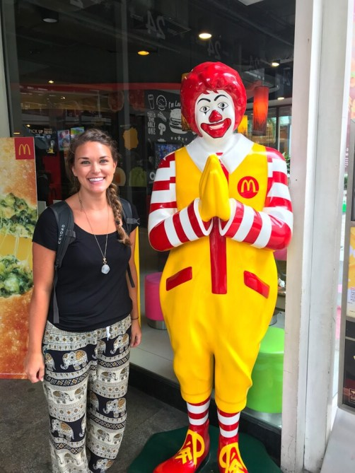 Lauryn and the Thai Ronald McDonald in Bangkok