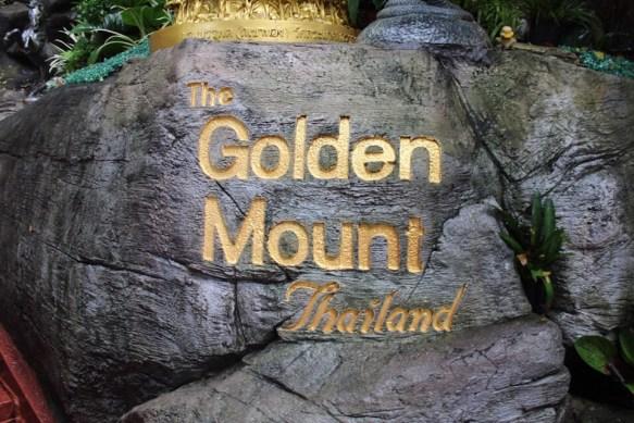 The Golden Mount sign in Bangkok