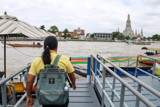 Approaching our longtail boat in Bangkok Thailand