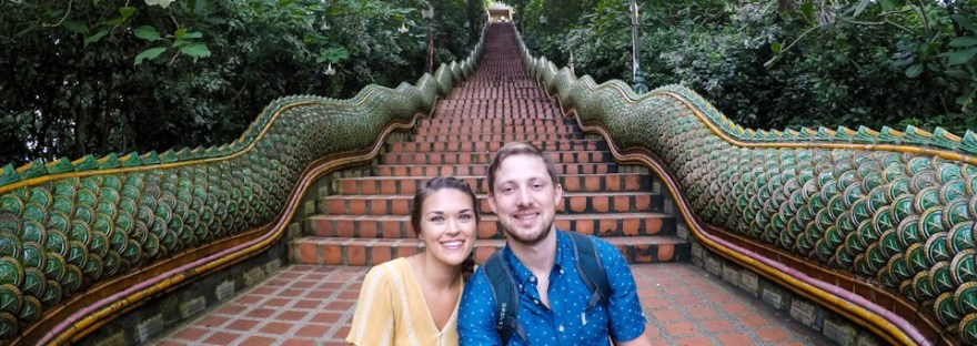 Eric and Lauryn at the Naga Staircase in Chiang Mai Thailand