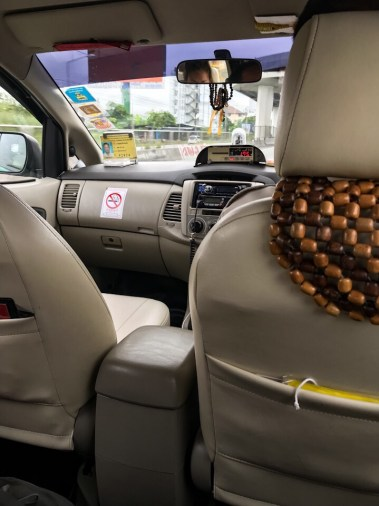 Inside our taxi cab going to the Bangkok airport