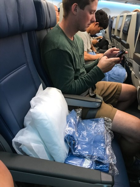 Empty middle seat on Delta flight from Seoul to Atlanta