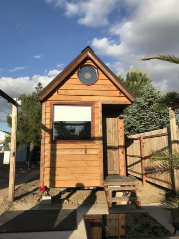 The outside of our tiny home Airbnb in Paso Robles California