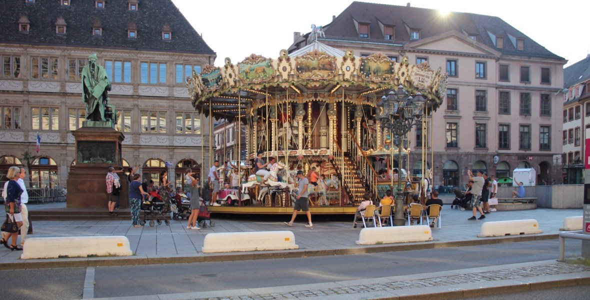 A carousel in the middle of Strasbourg